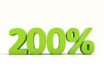 icona di tasso percentuale di 200% su un fondo bianco Immagini Stock Libere da Diritti