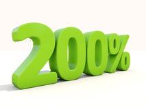 icona di tasso percentuale di 200% su un fondo bianco Fotografia Stock