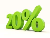 icona di tasso percentuale di 20% su un fondo bianco Fotografie Stock