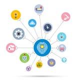 Icona di tecnologia di intelligenza artificiale di AI messa nella forma del cerchio royalty illustrazione gratis