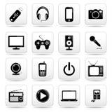 Icona di tecnologia sul bottone in bianco e nero quadrato c Fotografia Stock Libera da Diritti