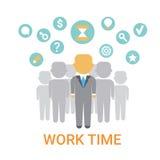 Icona di tempo di lavoro che lavora l'insegna trattata di concetto di organizzazione illustrazione di stock