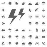 Icona di temporali e del fulmine Icone di vettore del tempo messe Fotografia Stock Libera da Diritti