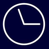 Icona di termine o di tempo dei profili di bianco dell'insieme Immagine Stock