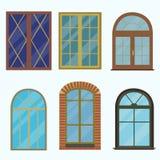 Icona di una finestra in uno stile piano alla moda Immagini Stock Libere da Diritti