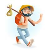 Icona di Vacation Summer Character dell'uomo d'affari del viaggiatore 3d del geek dei pantaloni a vita bassa del fumetto sul vett Immagini Stock Libere da Diritti