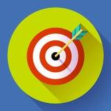 Icona di vendita di obiettivo con il simbolo della freccia Stile piano di progettazione di vettore Fotografia Stock