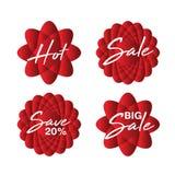 Icona di vendita, vettore del fiore, autoadesivo, etichetta, bottoni, etichette, insegna di promozione, vendita, elementi di prog illustrazione di stock