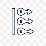 Icona di vettore di ABC isolata su fondo trasparente, ABC lineare t illustrazione di stock