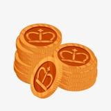 icona di vettore 3D per le due pile di monete bronzee con la corona dell'oro sulla cima Il terzo premio del posto Fotografia Stock