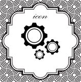 Icona di vettore degli ingranaggi su un fondo geometrico Fotografie Stock