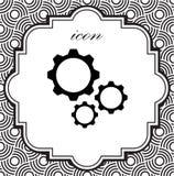 Icona di vettore degli ingranaggi su un fondo geometrico Immagini Stock