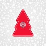 Icona di vettore del buon anno e di Buon Natale con il fiocco di neve Fotografie Stock Libere da Diritti