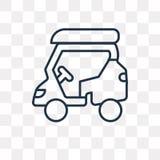 Icona di vettore del carretto di golf isolata su fondo trasparente, lineare royalty illustrazione gratis