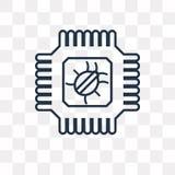 Icona di vettore del chip isolata su fondo trasparente, chip lineare illustrazione vettoriale