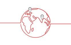 Icona di vettore del mondo con le destinazioni ed orizzonte nel colore rosso su fondo bianco Fotografia Stock Libera da Diritti