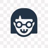 Icona di vettore del nerd isolata su fondo trasparente, trasporto del nerd illustrazione vettoriale