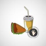 Icona di vettore del panino degli alimenti a rapida preparazione e di una bevanda Immagini Stock Libere da Diritti