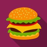 Icona di vettore dell'hamburger Immagine Stock Libera da Diritti