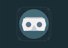 Icona di vettore dell'ingranaggio di realtà virtuale Casco di VR nella progettazione materiale Fotografia Stock Libera da Diritti
