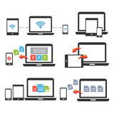 Icona di vettore della compressa dello Smart Phone del computer portatile del dispositivo mobile Fotografia Stock