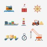 Icona di vettore della gru della nave porta-container di trasporto della spedizione di consegna Fotografie Stock Libere da Diritti