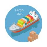 Icona di vettore della nave da carico nella proiezione isometrica illustrazione vettoriale