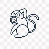 Icona di vettore della scimmia isolata su fondo trasparente, Mo lineare illustrazione di stock