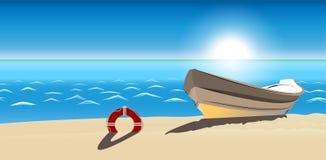 Icona di vettore della spiaggia sabbiosa della barca di vista sul mare isolata Fotografia Stock