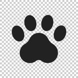 Icona di vettore della stampa della zampa Illustrazione del pawprint del gatto o del cane animale