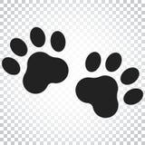 Icona di vettore della stampa della zampa Illustrazione del pawprint del gatto o del cane animale Fotografia Stock
