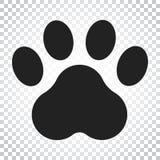Icona di vettore della stampa della zampa Illustrazione del pawprint del gatto o del cane animale Fotografia Stock Libera da Diritti