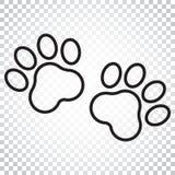 Icona di vettore della stampa della zampa nella linea stile Illustr del pawprint del gatto o del cane Fotografie Stock