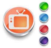 Icona di vettore della TV Retro TV Insieme rotondo del bottone Immagini Stock