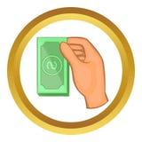 Icona di vettore delle banconote in dollari della tenuta della mano Immagini Stock