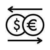 Icona di vettore di cambio Illustrazione in bianco e nero dei soldi Dollaro del profilo ed icona lineari dell'euro Immagini Stock