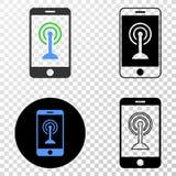 Icona di vettore ENV di punto caldo di Smartphone Wi-Fi con la versione di contorno royalty illustrazione gratis