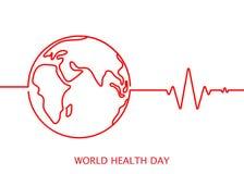 Icona di vettore di giorno di salute di mondo con il cardiogramma nel colore rosso su fondo bianco Fotografie Stock
