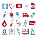 Icona di vettore messa per creare infographics relativo a medicina ed a salute, come la pillola, la siringa, l'infermiere, l'ambu illustrazione di stock