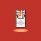 Icona di vettore nella linea stile del lavoro delle sigarette del pacchetto su fondo rosso illustrazione di stock