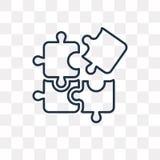 Icona di vettore di puzzle isolata su fondo trasparente, unità di elaborazione lineare royalty illustrazione gratis