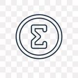 Icona di vettore di sigma isolata su fondo trasparente, Sig lineare royalty illustrazione gratis