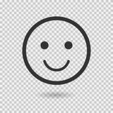 Icona di vettore di sorriso Emoji emoticon Fronte piano Illustrazione di vettore con ombra su fondo trasparente Fotografia Stock