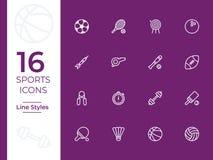 Icona di vettore di 16 sport, simbolo di sport o illustrazione vettoriale