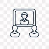 Icona di vettore di videoconferenza isolata su fondo trasparente, illustrazione di stock