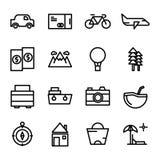 Icona di viaggio della raccolta messa nella linea stile con il pixel perfetto royalty illustrazione gratis