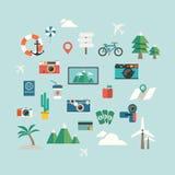 Icona di viaggio su fondo blu illustrazione vettoriale
