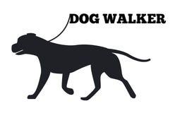 Icona di Walker Logo Design Canine Animal Black del cane Immagine Stock Libera da Diritti