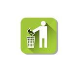Icona di web del recipiente di Person Throw Rubbish To Recycle Fotografia Stock