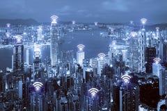 Icona di Wifi e città di Hong Kong con il collegamento di rete wireless H immagine stock